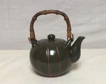 Asian Style Terracotta Teapot with Bamboo Handle, Japanese Teapot, Green Teapot, Pottery Teapot