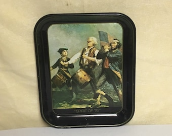 """Mid Century """"Spirit of 76"""" Tole Metal Serving Tray, Patriotic Party Tray, Independence Day"""