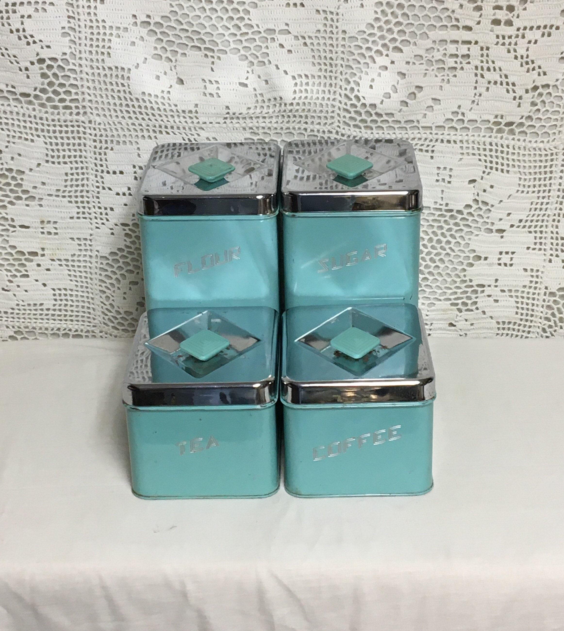 Mid Century Modern Turquoise Canister Set, Robin Egg Blue ...