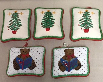 Set of Five (5) Needlepoint Pillow Christmas Ornaments, Handcrafted, Christmas Tree and Teddy Bear Holiday Decoration