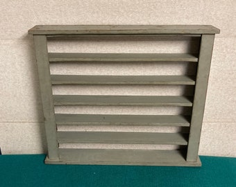 1940's Shabby Wooden Display Shelf Unit w/ 6 Shelves, Harmonica Shelf, Gray Chippie Paint