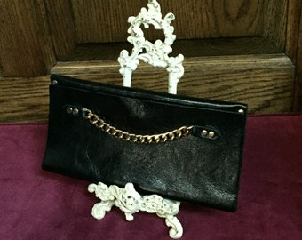 Moss Mills, Black, Leather, Fold Over Clutch, Purse, with Gold Chain and Gold Studs, Handmade Purse, Elegant Clutch