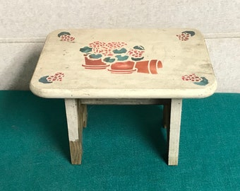 Handmade Wooden Christmas Foot Stool with Hand Painted Rhododendrons, Shabby