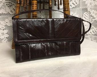 Eel Skin Burgundy Purse, Crossbody, Shoulder Bag, Clutch Purse, Leather Handbag