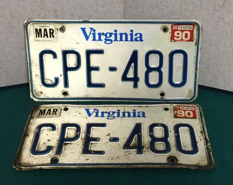 1990 Virginia Car License Plates, Matching Set of 2, Registration Car Tags, Plate Number CPE-480