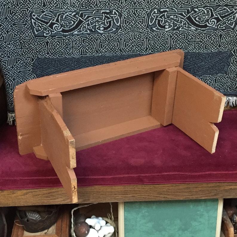 Ranch Farmhouse Garage Foot Stool Wooden Stool Industrial Painted Brown Rustic Handmade Primitive Decor Stepstool