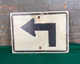 1970's Authentic Wooden Left Turn Arrow Road Sign, Directional Pennsylvania Highway Street Sign, Man Cave