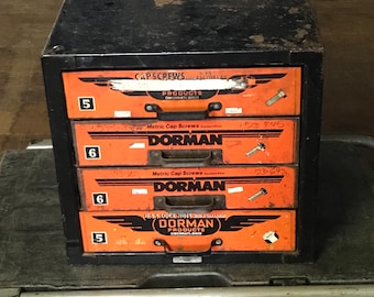 Dorman Industrial Parts Cabinet Drawers, Automotive Parts Cabinet, Gas Station, Petroliana