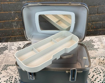 Vintage Blue American Tourister Train Case, Overnight Bag, Makeup Cosmetic Case, Carry On Luggage