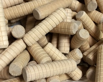 """Bulk 100 Pieces 3/4"""" x 3"""" Wood Spiral Dowel Pins, Arts and Crafts Wooden Dowels, Crafts Supplies, Woodworker Projects"""