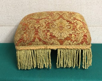 Tapestry Footstool with Bullion Fringe, Ottoman, Antique Upholstered Stool with Wooden Legs, Fringed Foot Rest