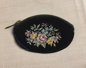 Antique Hand Stitched Zipper Pouch, Petit Point Coin Purse, Black Cloth Needlepoint Coin Purse, Floral Zippered Purse