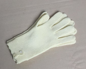 Vintage Ladies Gloves  Made in Japan, Nylon Knit Gloves, With Two Buttons at Wrist