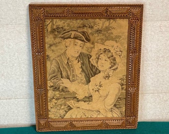 Authentic Tramp Art Frame with Tapestry