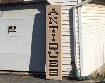 "Large Wooden ""ANTIQUES"" Store Front Sign, Retail Antique Shop Sign"