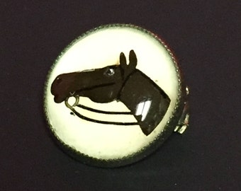 Vintage Essex Crystal, Silver, Horse Head Brooch, Pin