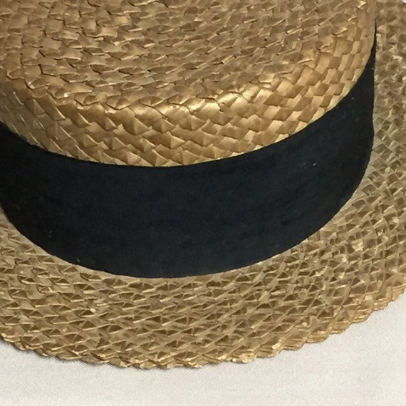 Antique Straw Boater Hat, Mens Victorian Straw Ha… - image 7