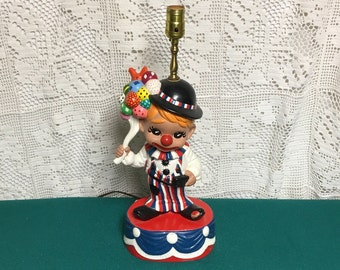 Ceramic Funny Clown Table Lamp with Balloon Bouquet, Red White and Blue