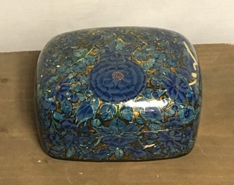Blue Floral Kashmir Lacquer Box, Eclectic Collection Box, Kashmir, India, Handmade, Hand Painted Floral Box, Gold Painted Box,