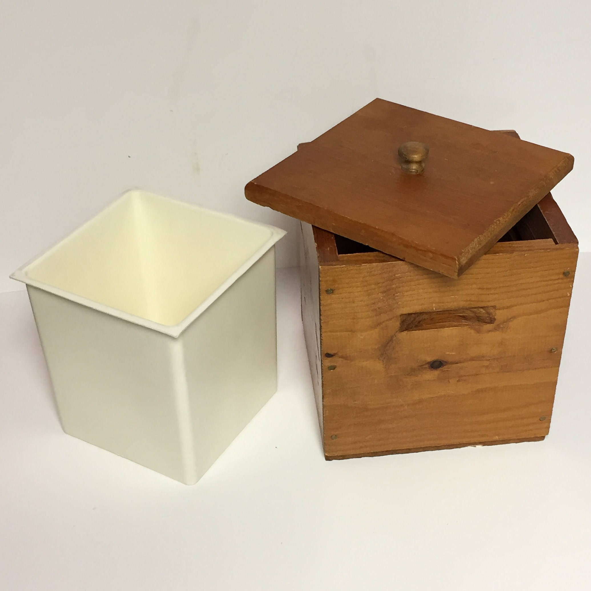 Vintage Wood and Plastic Anheuser Busch Ice Bucket, Beer Cooler