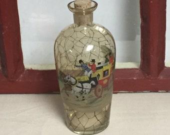 Czechoslovakian Borokristal Amber Decanter, Crystal Glass Liquor Bottle, Blackberry Liqueur Bottle