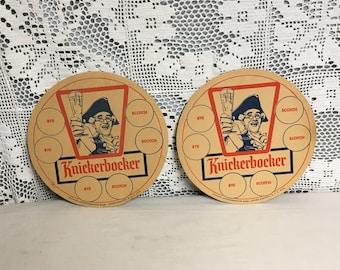 """Pair of 10"""" Ruppert Knickerbocker Beer Cardboard Tray Coaster,  Large Cardboard Beer Tray Liner, Beer Coaster"""