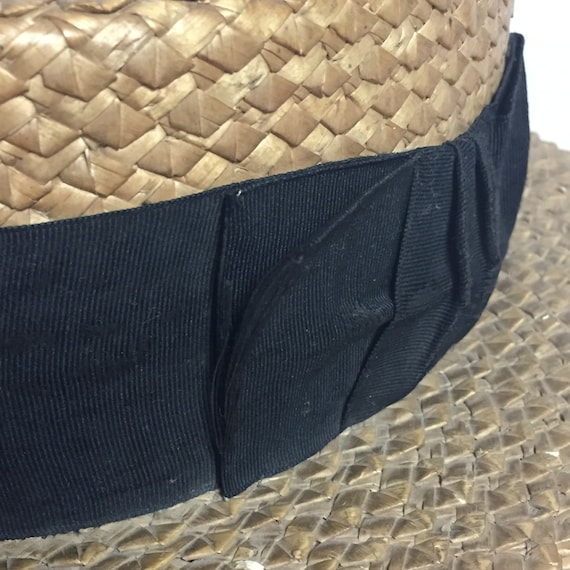 Antique Straw Boater Hat, Mens Victorian Straw Ha… - image 9