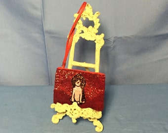 Liz Claiborne Beaded Satin Dog Coin Purse, Mini Bag, Wristlet