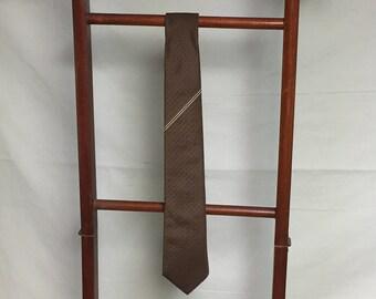 Don Loper Bevery Hills Men's Tie, Brown Polyester Tie, Brown Textured Tie, Brown Tie with White Pinstripes