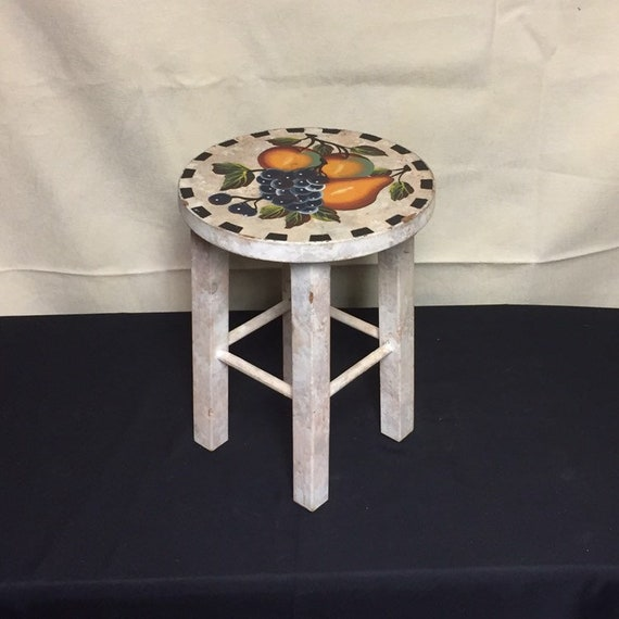 Tremendous Small Wooden Stool Painted Fruit Stool Grapes Peaches Pear Round Top Stool Small Stepstool Plant Stand Farmhouse Rustic Country Ocoug Best Dining Table And Chair Ideas Images Ocougorg