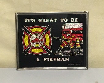 Framed Fireman Mirror, Carnival Prize Wall Mirror, Firehouse Decor, Klopp Novelty Reading PA, It's Great to be a Fireman Mirror