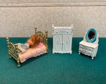 "Vintage Mattel ""The  Littles"", 1980's Mattel Littles Furniture and  Doll, Cast Metal Bed, Dresser, Armoire, Flossie Doll"