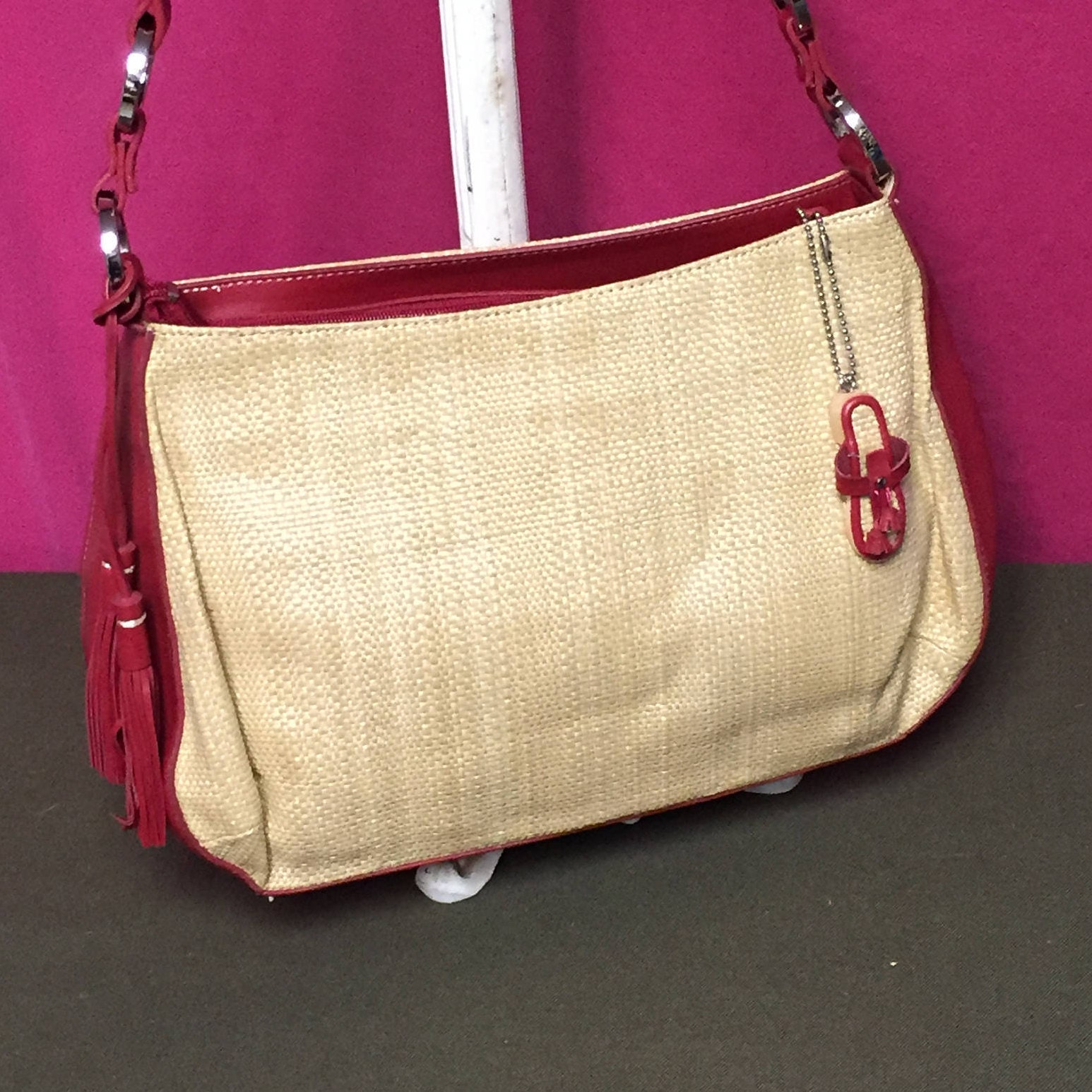 Etienne Aigner Straw And Faux Leather Purse Beach Bag