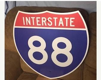 Vintage Original INTERSTATE 88 Sign Highway Shield NEW OLD Stock Metal Road Highway Sign I-88 Sign Traffic Sign Man C
