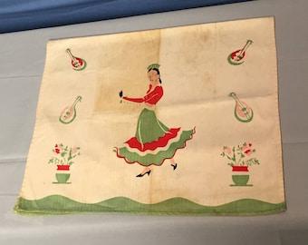 Vintage Dish Towel, Spanish Dancer, 1930's
