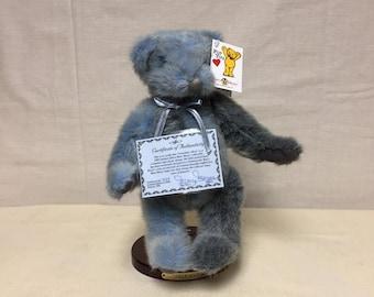 "Mary Meyer Bear, Limited Edition ""Grandma's Bear"" 423/2500,  Blue/Gray Fur Teddy Bear, Jointed Stuffed Bear, Made in Vermont"