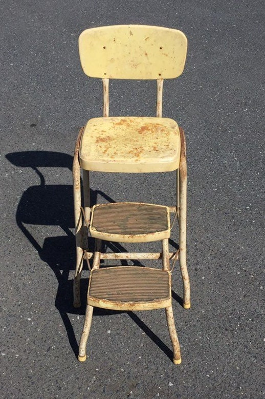 A Shabby Rustic COSCO Metal Kitchen Step Stool Chair with ...
