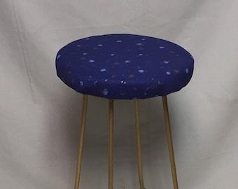 Moon, Stars and Sun Fabric Top Stool,  MCM Iron Based Legs, Bar Stool, Space Fabric Seat, Kids Stool, College Dorm Room, Kitchen Stool