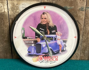 Matco Tools Racing Advertising Clock Female Pinup Models, Chaney Instruments USA, Snap On