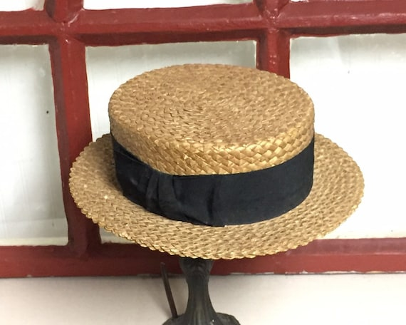 Antique Straw Boater Hat, Mens Victorian Straw Ha… - image 3