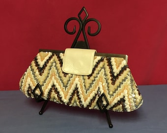 Vintage Santi, Beaded Handbag, Sequin Purse, Clutch Purse, Made in India, Chevron, Zig Zag Pattern