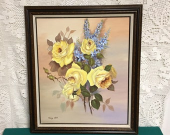 Yellow Rose and Blue Flower Still Life Oil Painting, Original Oil on Canvas, Signed Danny O'Neill, Vintage Floral Painting Ready to Hang