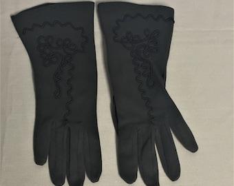 Vintage Atlas Ladies Gloves, Brown Cotton Gloves with Decorative Stitching
