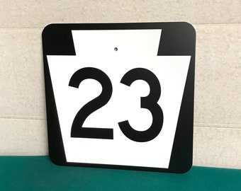 Authentic Pa Route 23 Metal Highway Sign, Real Road Sign, Lancaster County Pa.