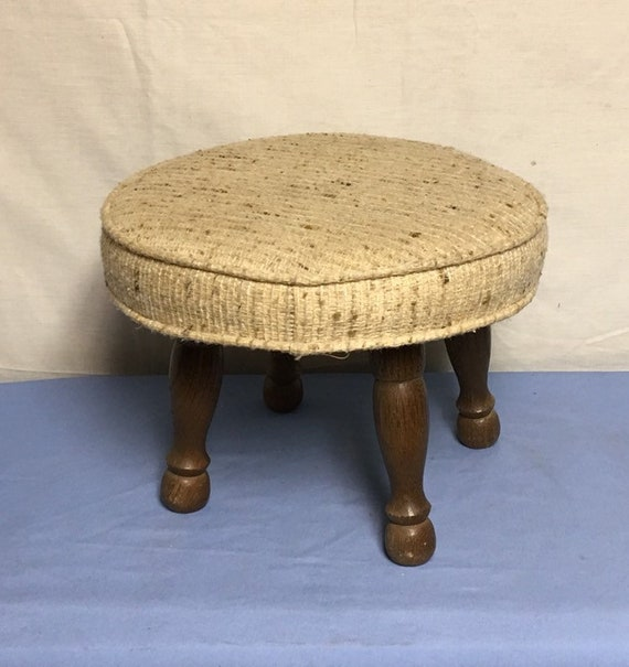 Magnificent Mid Century Small Round Padded Foot Stool Cushioned Hassock Stool With Turned Wood Legs Creativecarmelina Interior Chair Design Creativecarmelinacom