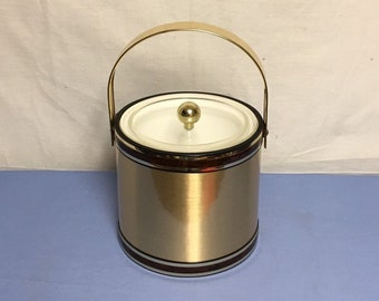 Georges Briard Ice Bucket, Brushed Gold Ice Bucket, Brown Trim, Made in U.S.A., Mid Century Champagne Bucket, Wine Bucket