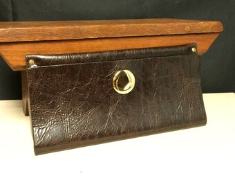 Moss Mills, Brown Leather, Fold Over Clutch, Purse, with Large Gold Stud and Small Gold Studs, Handmade Purse, Elegant Clutch