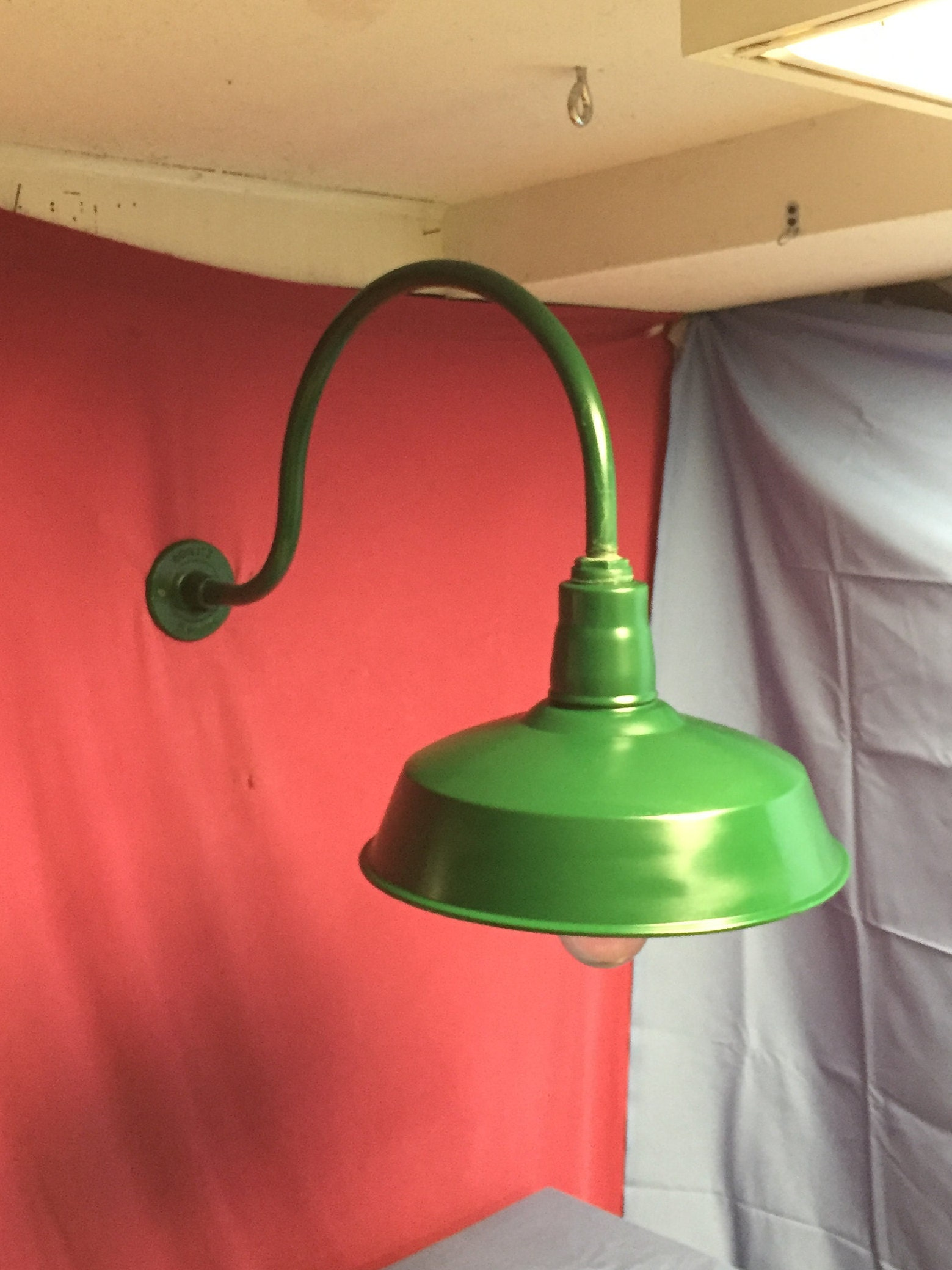 Old Original Green Abolite Gooseneck Barn Light Enamel