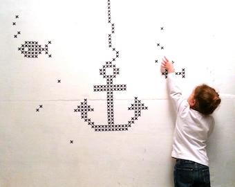 Black Cross Wall Stickers, Cross Wall Decal, Plus Wall Decor