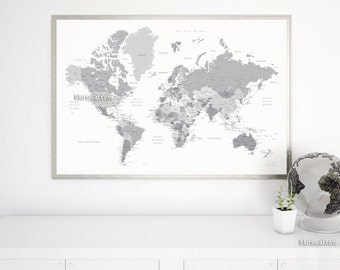 Capitals world map etsy boyfriend gift large map 60x40 printable world map with capitals cities map for diy travel pinboard grayscale map map141 051 gumiabroncs Choice Image